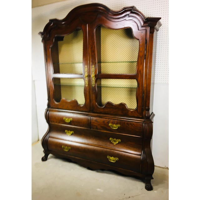 1950's Oak Bombay Style China Cabinet For Sale - Image 10 of 11