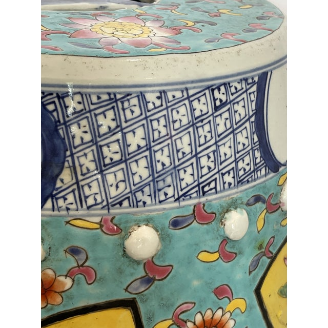 Antique Chinese Chinoiserie Turquoise & Yellow Ceramic Garden Seat, A-Pair For Sale - Image 9 of 10