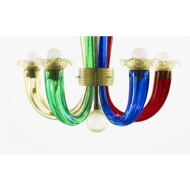 Murano Multi-Colored Chandelier by Gio Ponti for Venini. Murano, colorful glass, with gold flecks and brass trim.