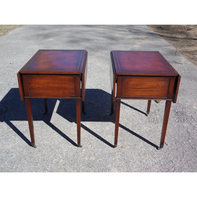 Red Traditional Pair Federal Leather Top Mahogany Drop Leaf End Tables Nightstands For Sale - Image 8 of 13