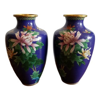 Large Beautiful Pair of Cloisonne Vases For Sale