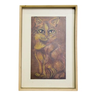 "Mexican Modernist ""Cat"" Pastel Painting on Paper Signed Remedio Varo For Sale"