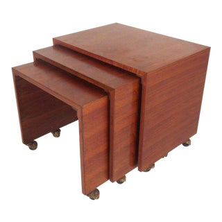 Set of Three Vintage Modern Walnut Waterfall Nesting Tables