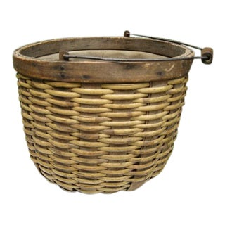 Primative Bent Wood Basket With Metal Handle and Cloth Lining For Sale