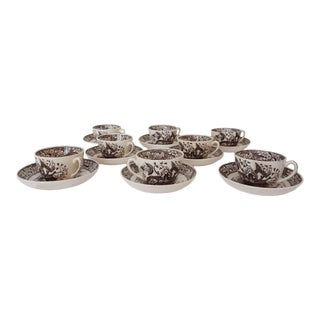 Antique Wedgwood Beatrice Pattern Brown & White Cups With Saucers - Set of 8 For Sale