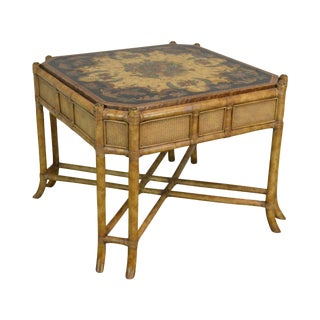 Maitland Smith Faux Bamboo Hand Painted Square Side or Coffee Table For Sale