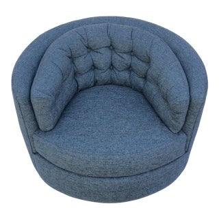 Mid Century Barrel Swivel Chair For Sale