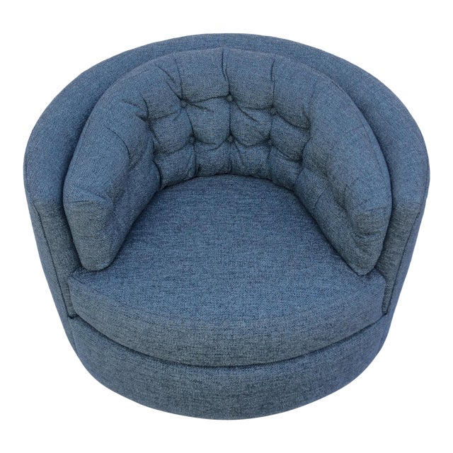 Mid Century Barrel Swivel Chair For Sale