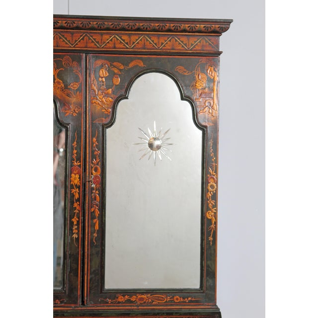 English Chinoiserie Secretary With Mirrored Doors For Sale - Image 10 of 13