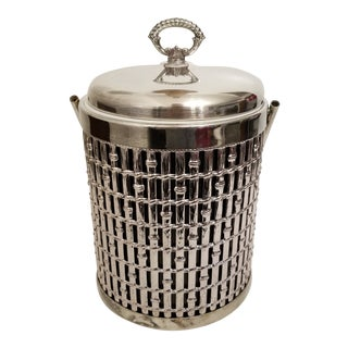 Vintage Silverplate Bamboo Ice Bucket For Sale