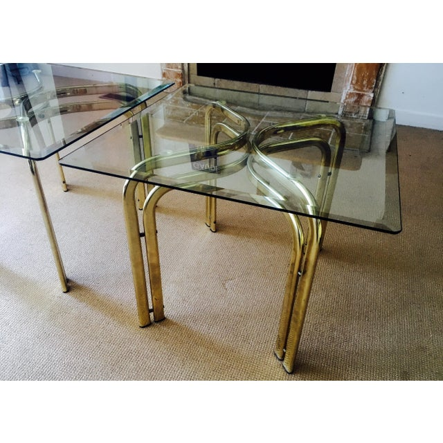 Mid Century Brass & Glass Side Tables - a Pair - Image 7 of 9