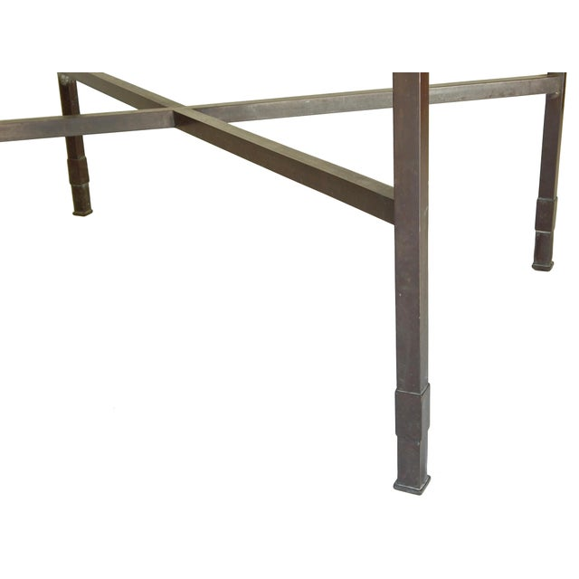 Metal Bronze Table base With Glass Top For Sale - Image 7 of 8
