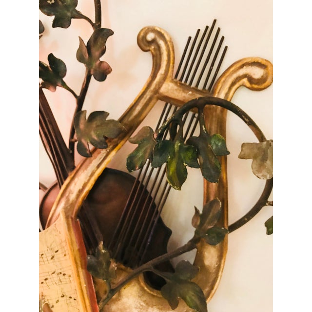 Metal 1950s Baroque Italian Tole Musical Sconces - a Pair For Sale - Image 7 of 11