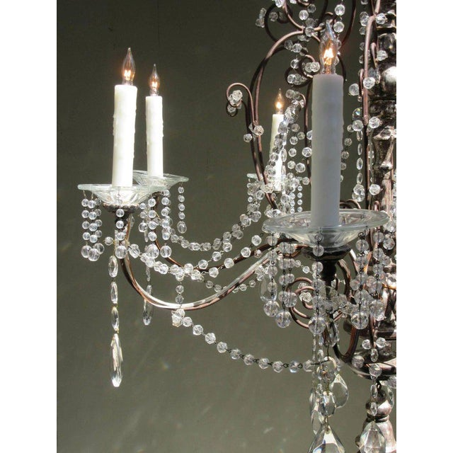 19th Century Italian Baroque Silver Leaf and Crystal Chandelier with Tassel For Sale In Charleston - Image 6 of 10