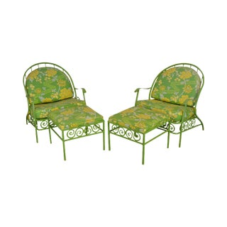 Hollywood Regency Mid Century Lime Green Cast Aluminum Pair Patio Lounge Chairs W/ Ottomans For Sale