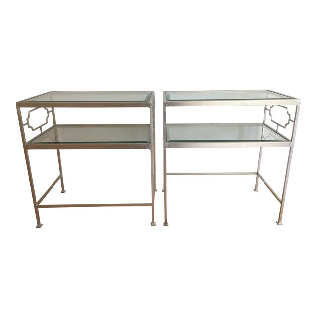 Worlds Away Glass Side Tables - A Pair For Sale