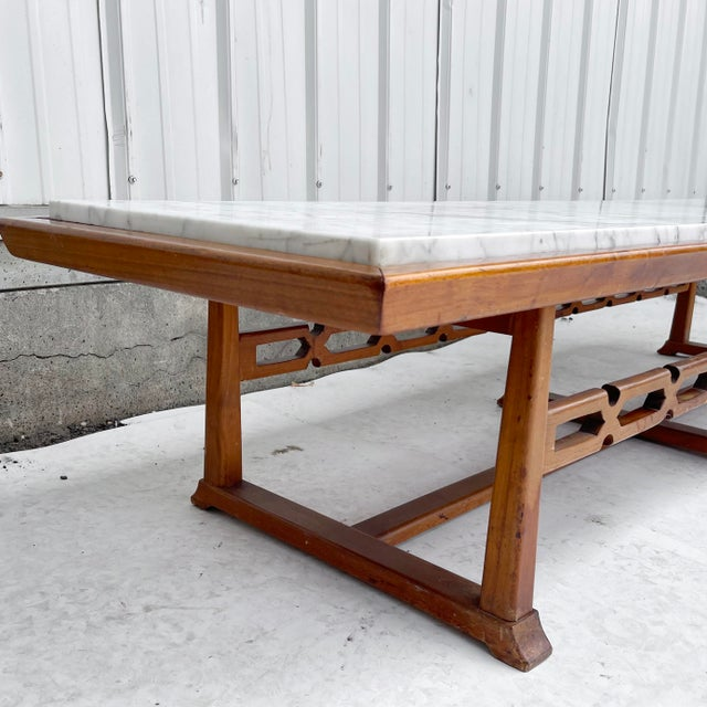 Long Mid-Century Marble Top Coffee Table For Sale - Image 12 of 13