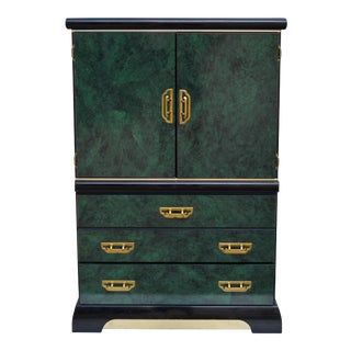 Lacquered Green Faux Malachite and Brass Armoire For Sale