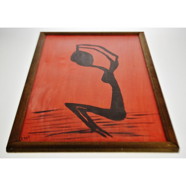 Abstract Vintage Framed Red & Black Abstract Figural Woman Oil on Canvas  Painting - Artist Signed
