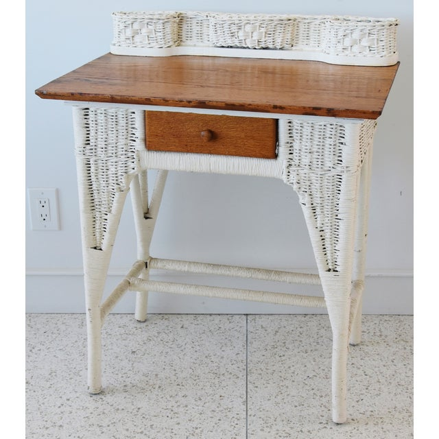 Antique Painted Wicker & Oak Writing Desk Table For Sale - Image 11 of 13