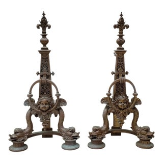 Pair of Late 19th Century French Baroque Bronze Chenets / Andirons For Sale
