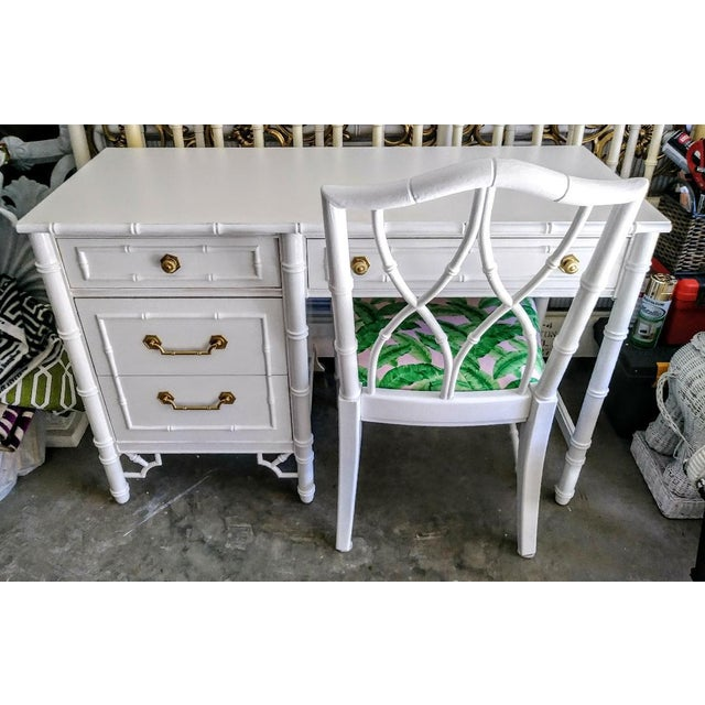 Thomasville Vintage Faux Bamboo Palm Beach Regency White High Gloss Desk W/Chair For Sale - Image 10 of 10