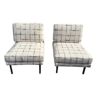 1970s Vintage Upholstered Iron Base Slipper Chair by Isa Bergamo- A Pair For Sale