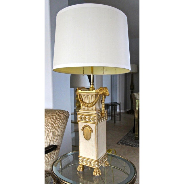 French Gilt Wood Rams Head Paw Feet Table Lamp For Sale - Image 13 of 13