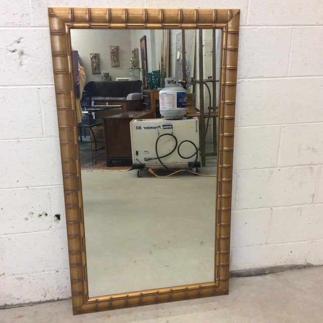 Gold Leaf Faux Bamboo Mirror - Image 8 of 8