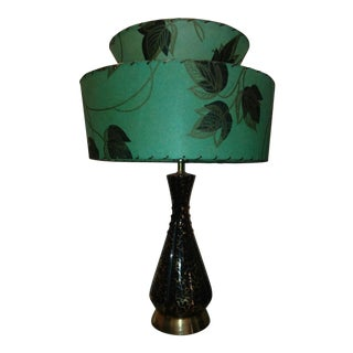 Mid-Century Gold & Black Table Lamp For Sale