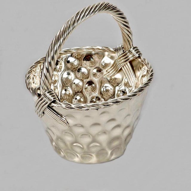 Mid Century Hammered Silver Plate Tall Handled Basket - Image 3 of 8
