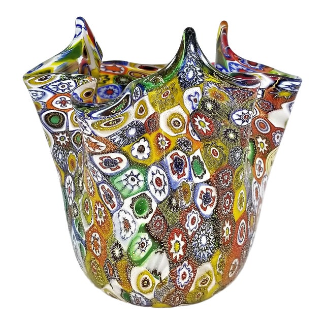 Vintage Murano Glass Hankerchief Vase - Millifiori and Gold by Campanella- Signed - Italy Italian Palm Beach Boho Chic Mid Century Modern For Sale