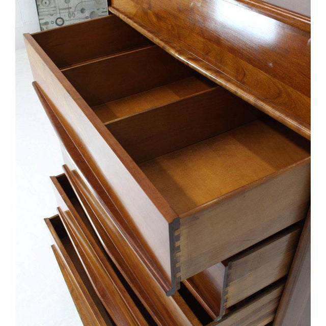 1970s Six Drawers Solid Cherry Mid-Century Modern Design High Chest For Sale - Image 5 of 13