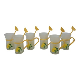 Vintage Lemon Frosted Tea Cups With Yellow Handles and Lemon Spoons Set of 6 For Sale