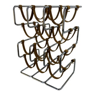 Arthur Umanoff Chrome and Leather Wine Rack For Sale