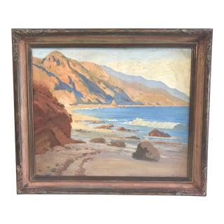 Phoebe Knutson Vintage 1930's Plein Air California Seascape Oil Painting