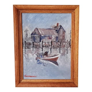Vintage Seascape Oil Painting on Canvas - Abstract Wharf Boat Painting in Vintage Wooden Frame For Sale