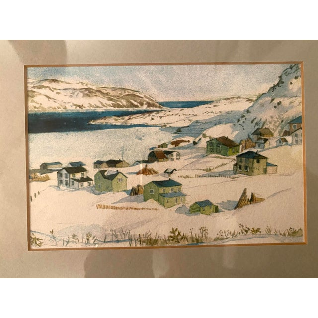 Winter Scene of a Lakeside Nordic Town Watercolor Painting, Framed For Sale In Denver - Image 6 of 11