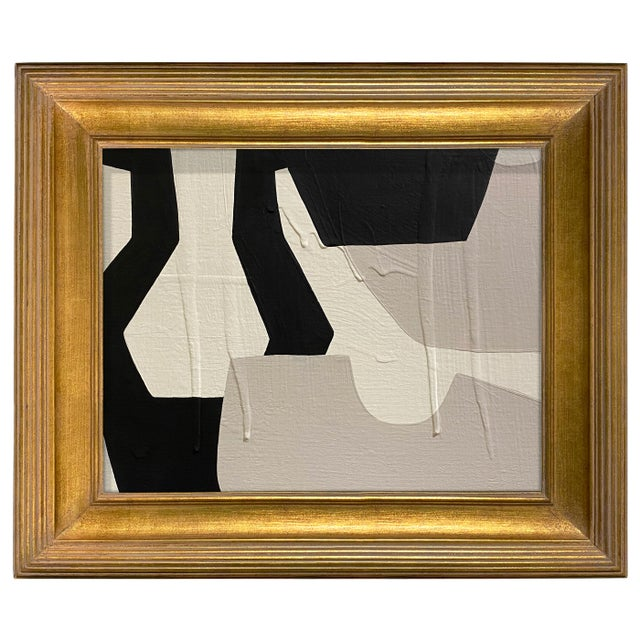 Abstract Ron Giusti Mini Sake Flask and Cups No. 6 Acrylic Painting, Framed For Sale - Image 3 of 3