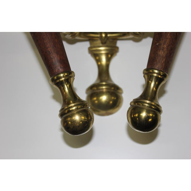 Big Pair Of French Art Deco Solid Bronze / Mahogany Sconces Wall Lights Circa 1940s. - Image 5 of 11