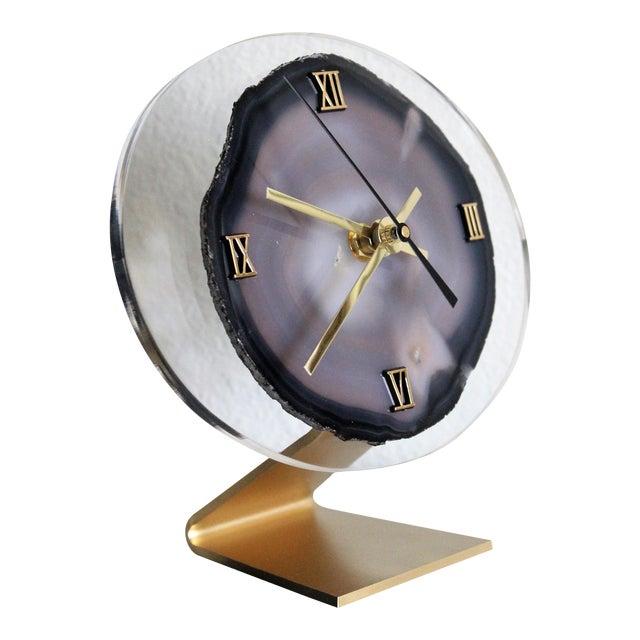 Modern Gray Agate Desk Clock - Image 1 of 8