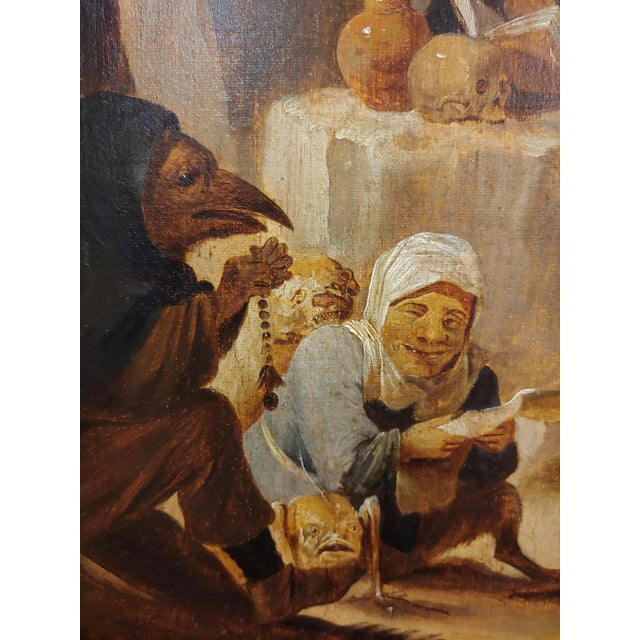 Country David Teniers the Younger-Flemish-The Temptation of St. Anthony-Oil Painting-C1680s For Sale - Image 3 of 9