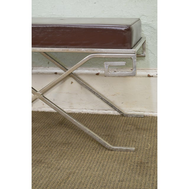 *STORE ITEM #: 18149 Hollywood Regency Pair of Greek Key Silver X Benches AGE / ORIGIN: Approx. 25 years, America DETAILS...