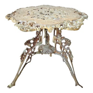 Mid 19th Century French Empire Bronze Caryatids Hexagonal Low Stool Pedestal Table For Sale
