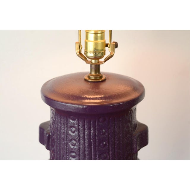 Mid Century Modern Purple Pottery Table Lamp For Sale - Image 10 of 13