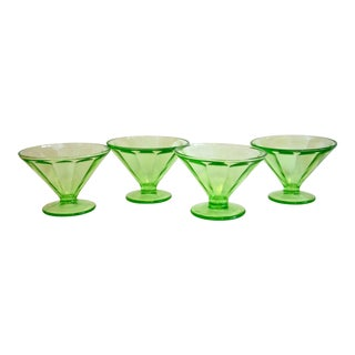 Bright Green Glass Pedestal Bowls - Set of 4 For Sale