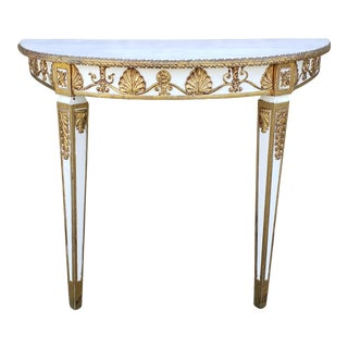 Vintage Neoclassical Style Demi-Lune Console Table For Sale