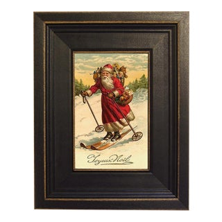 Santa on Skis Framed Oil Painting Print on Canvas in Distressed Black Wood Frame For Sale