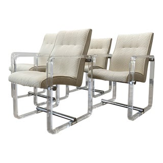 Vintage Mid Century Lucite and Chrome Arm Dining Chairs- 4 Pieces For Sale