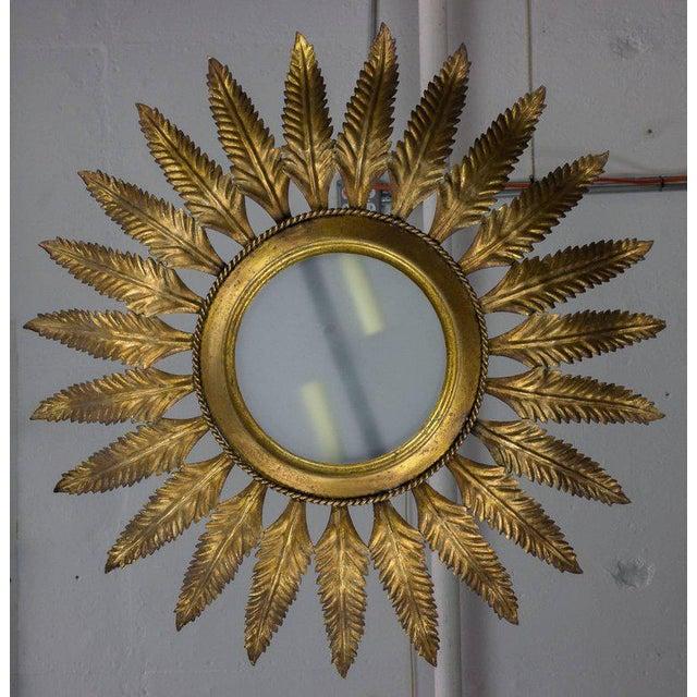 Mediterranean Spanish Gilt Metal Sunburst Flush Mount Ceiling Fixture For Sale - Image 3 of 8